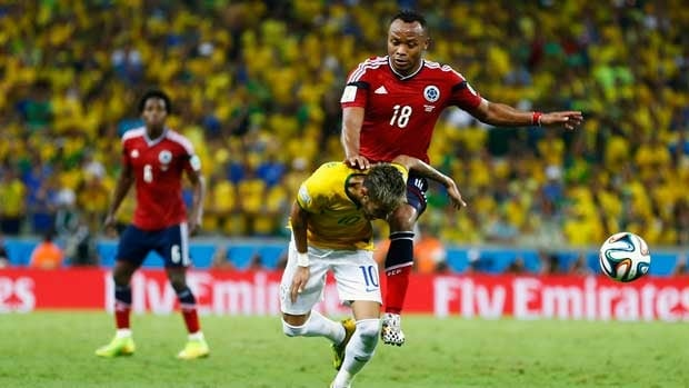 Brazilian star Neymar is fouled by Colombia's Camilo Zuniga late in the quarter-final match Friday in Fortaleza.