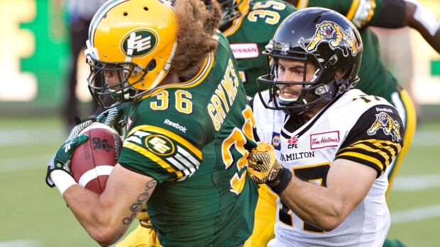 The Tiger-Cats' Luke Tasker tackles Aaron Grymes of the Eskimos during first-half action at Commonwealth Stadium on Friday night. Edmonton fought back for a 28-24 victory to improve to 2-0 on the season.