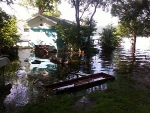 Flooded trailer on Round Lake waterfront