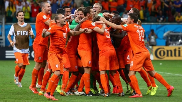 The Netherlands celebrates after defeating Costa Rica in a shootout during the teams' quarter-final match at the 2014 FIFA World Cup in Brazil.