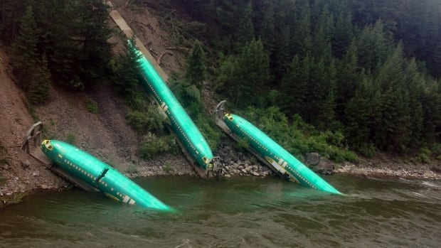 Three Boeing 737 fuselages tumbled down a steep embankment of the Clark Fork River after a westbound train derailed in Montana on Thursday last week. Officials are struggling to remove the jet components from the river.