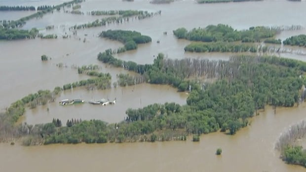 The Assiniboine River in Manitoba has flooded a wide swath of land, including this area near Brandon.