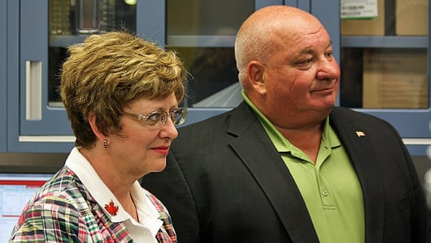 Bruce–Grey–Owen Sound MP Larry Miller, seen here with Public Works Minister Diane Finley during a tour in his riding last summer, has apologized for suggesting Muslim women who want to wear a niqab during citizenship ceremonies should 'stay the hell where [they] came from.'