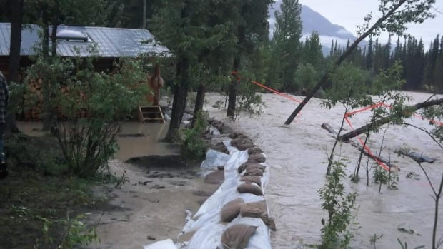 Four Yukon fire crews filled more than 300 sandbags this weekend to protect cabins from the Wheaton River on Annie Lake Road.