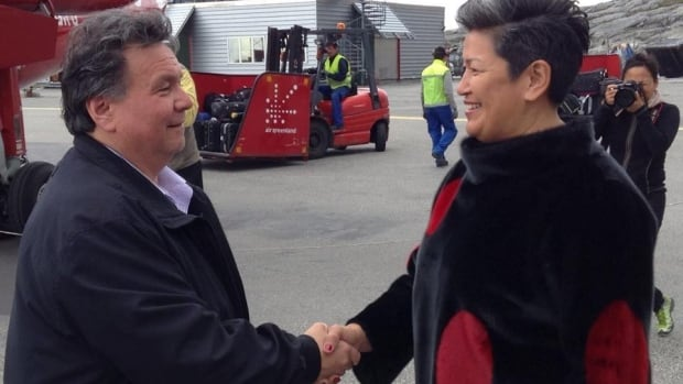 Nunavut Premier Peter Taptuna is greeted by Greenland Premier Aleqa Hammond at the Nuuk airport on June 30. Today he'll welcome premiers from Yukon, N.W.T. and Alberta as the Western Premiers' Conference gets underway in Iqaluit.
