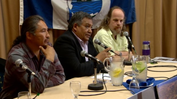 Allan Adam, chief of the Athabasca Chipewyan First Nation (left), Steve Courtoreille, chief of the Mikisew Cree First Nation (centre), and University of Manitoba researcher Stephane McLachlan, spoke about the study at a news conference in Edmonton on Monday.