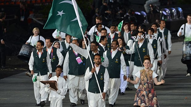 Athletes from Pakistan walk into the opening ceremony of the 2012 Olympics in London.