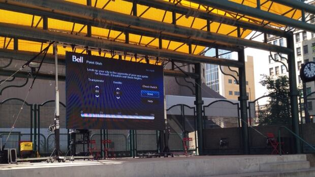 The City has set up this large HD screen in downtown Edmonton so fans can gather to watch the remaining FIFA World Cup games.