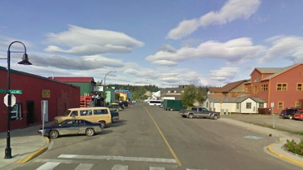 A view of Strickland Avenue at Front Street in Whitehorse.
