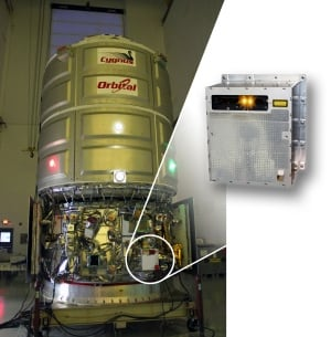 Cygnus spacecraft with TriDAR