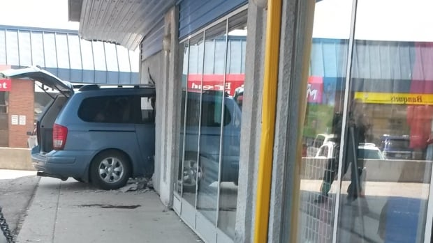 A vehicle smashed into the front of a Sally Ann Thrift Store in Saskatoon Wednesday.