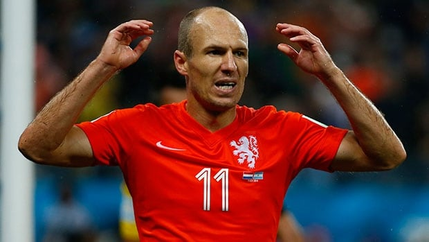 Dutch forward Arjen Robben reacts with disbelief after missing a glorious chance to give the Netherlands the lead over Argentina during Wednesday World Cup semifinal match. The Netherlands would go on to lose on penalties.