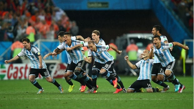 Argentina celebrates after winning the shootout against the Netherlands and moving on to the 2014 World Cup final.