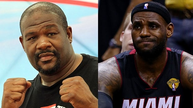 "Riddick Bowe, left, had some interesting ""information"" on LeBron James's destination."
