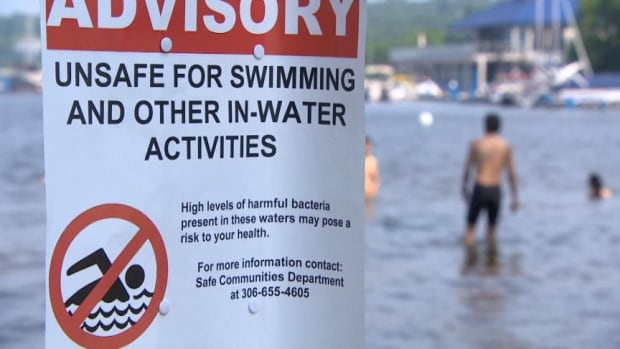 Signs at Regina Beach alert swimmers to elevated levels of bacteria.