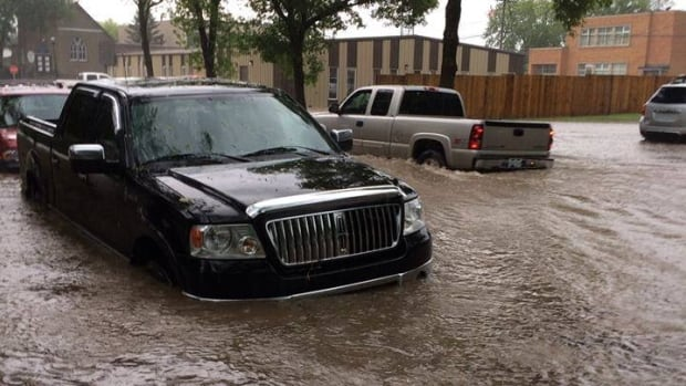 For the second time this summer, the streets of Moosomin were flooded after 120 mm of rain fell on Thursday.