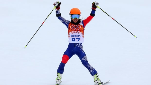 Vanessa Vanakorn of Thailand is seen here reacting after a run during the Alpine Skiing Women's Giant Slalom on Day 11 of the Sochi 2014 Winter Olympics at Rosa Khutor Alpine Center on February 18.
