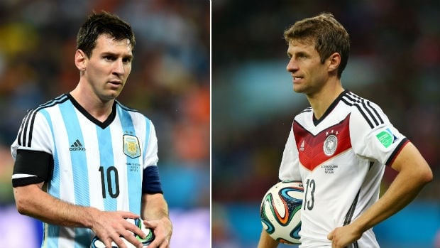 Argentina's Lionel Messi, left, and Germany's Thomas Muller are both in contention for the Golden Ball award.