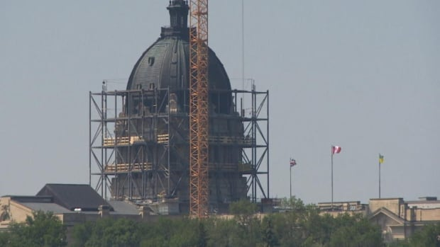 The Saskatchewan legislative building is wrapped in scaffolding as part of repairs to the dome.