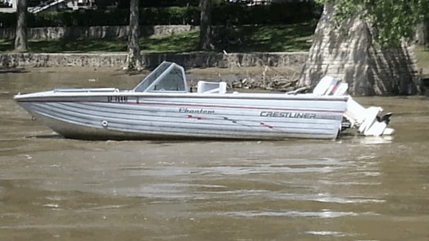 This boat was spotted at the Forks Friday, floating away. People who work on the river said there's a lot of debris in the high river water.