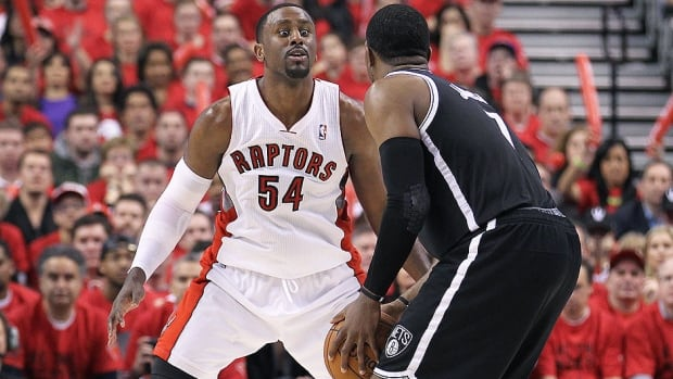 Restricted free agent Patrick Patterson, left, is staying with the Raptors. The 25-year-old averaged 10.4 points, 6.7 rebounds and 28.5 minutes during Toronto's seven-game loss to Brooklyn in Round 1 of the playoffs. He averaged 9.1 points, 5.1 rebounds and 23.3 minutes in 48 games with the Raptors in the regular season.