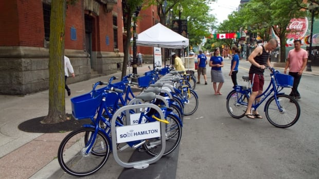 Hamilton's much-anticipated bike share program, SoBi Hamilton, set up a demo station on James Street North for Open Streets Hamilton in mid-July. Some residents tested the program's GPS-enabled bikes.