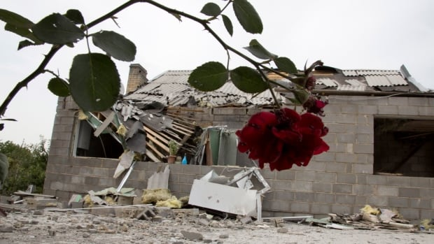 A house that was damaged during a shelling is seen in Petrovsky district of the city of Donetsk, eastern Ukraine. Local residents said it was a shelling from the Ukrainian army's side.