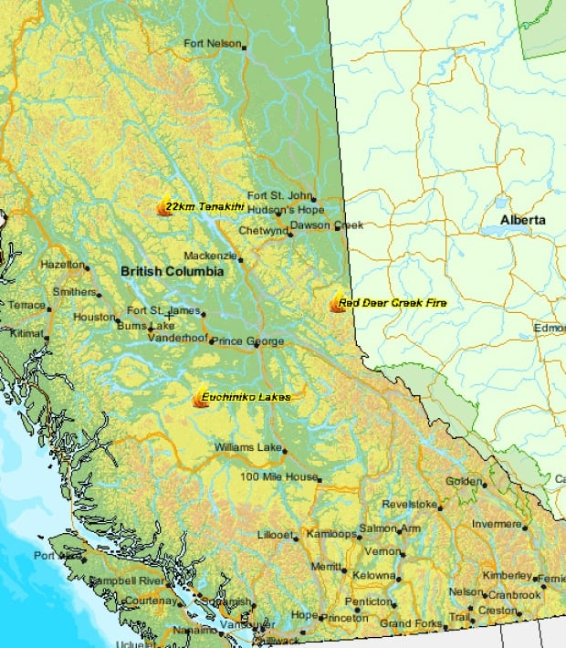 B.C. map - wildfires of note July 13, 2014