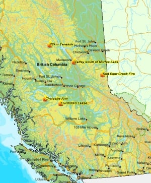 B.C. map - wildfires of note updated map July 13, 2014