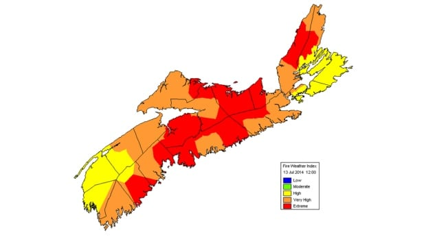 The forest fire rating, according to the province's Fire Weather Index Map, for most of Nova Scotia is 'extreme'.