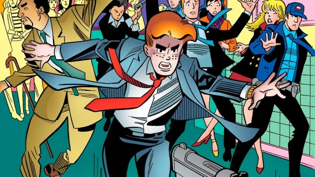 This photo provided by Archie Comics shows Archie in his final moments of life in the comic book, Life with Archie, issue 37. Archie Andrews will die taking a bullet for his gay best friend. The famous freckle-faced comic book icon dies in the July 16, 2014 instalment of Life with Archie while intervening in the assassination of Kevin Keller, Archie Comics' first openly gay character.