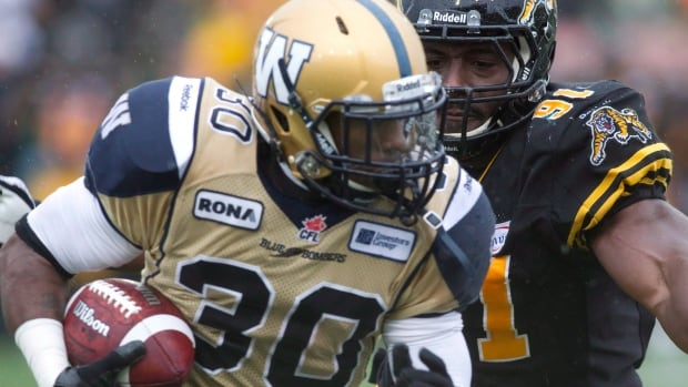 Brandon Bourdreux of the Hamilton Tiger-Cats tries to chase down Bombers' Will Ford in a 2012 game.