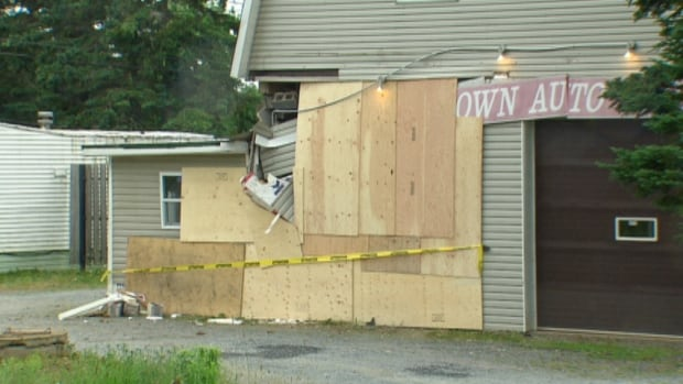 The Lawrencetown autobody shop shows the damage Monday.
