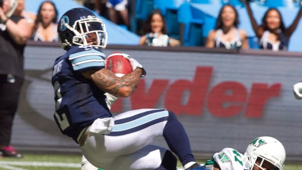 Toronto's Chad Owens is shown during the team's home opener on July 5.