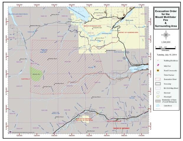 Mt McAllister fire evacuation order map