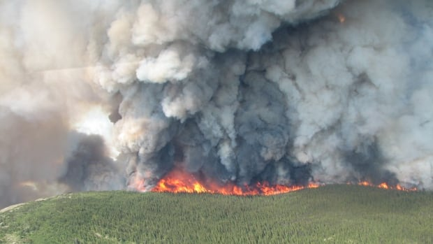 A photo of the Mount McAllister wildfire burning in the Klin-Se-Za protected area, in the northeastern region of B.C. on July 15.