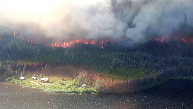 Firefighter pilot Fred Hardenberg  snapped this photo of the Hudson Hope fire in Northern B.C.