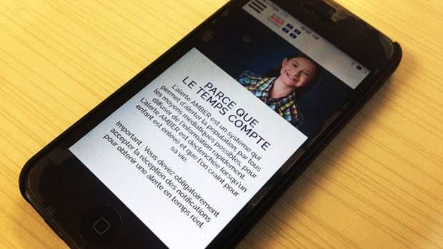 The Amber Alert Quebec is a free download in Apple's iTunes store and Google's Play store.