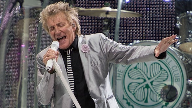 As his band's drum kit suggests, Rod Stewart is a supporter of Glasgow's Celtic Football Club.