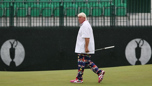 John Daly strolls onto the green during Wednesday's practice round for the British Open at Royal Liverpool in Hoylake, England.