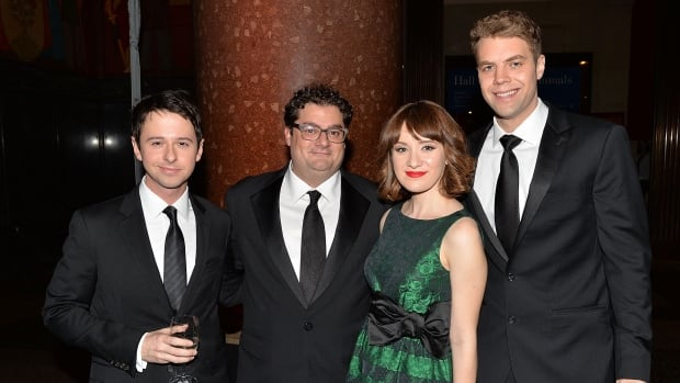 Saturday Night Live cast members John Milhiser, Bobby Moynihan, Noel Wells and Brooks Wheelan are pictured here at a gala in New York City. Milhiser, Wells and Wheelan have been booted out from the long-running sketch show.