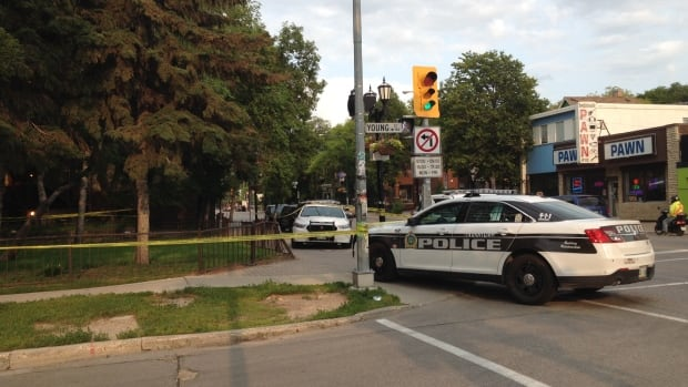 At least seven police cruisers were seen on the corner of Young St. and Broadway early Wednesday evening.