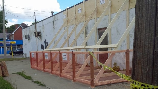 The City of Windsor has secured a crumbling building at the intersection of University and Josephine avenues.
