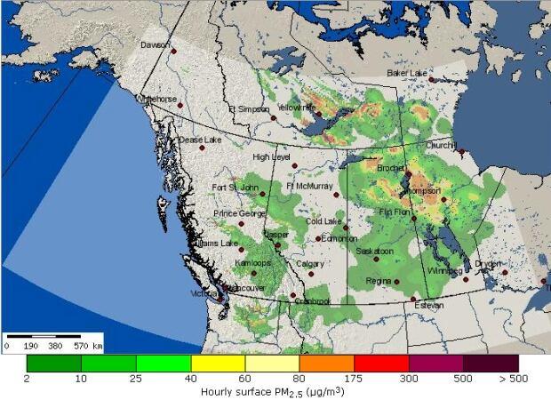 B.C. Air Quality Bluesky smoke forecast - July 17, 1800 PT