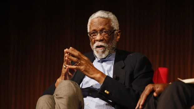 Basketball Hall of Famer Bill Russell is shown during a panel discussion in April in Austin, Texas, on civil rights.