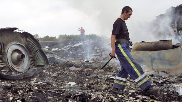 An Emergencies Ministry member walks at the site of a Malaysia Airlines Boeing 777 plane crash near the settlement of Grabovo in the Donetsk region, July 17, 2014. The Malaysian airliner Flight MH17 was reportedly brought down by a missile over eastern Ukraine on Thursday.