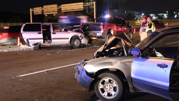 Three vehicles were involved in a collision on Highway 401 near Keele Street overnight, seriously injuring one man.