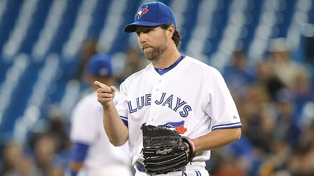 R.A. Dickey has a 7-9 record with a 3.82 ERA, a 1.32 WHIP and one complete game in 20 starts for the Blue Jays this season.