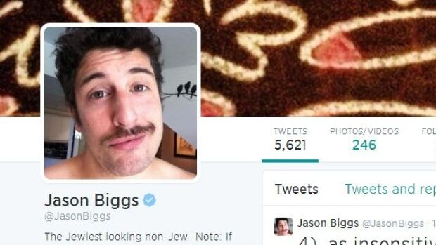 A screen shot of actor Jason Biggs' Twitter feed.