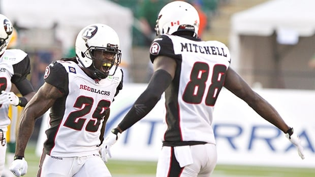 Chevon Walker (29) and Carlton Mitchell of the Redblacks will be pumped for Friday's historic  home opener at TD Place Stadium.